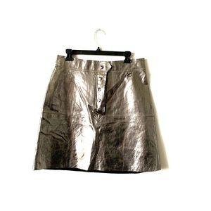 Zara Woman metallic leather snap front mini skirt